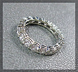 Sterling Silver Cz Eternity Full Circle Wedding Band
