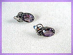 Amethyst Sterling Silver Clip Earrings PETER OLSON  UT (Image1)
