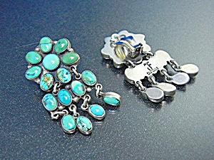 Turquoise Sterling Silver Clip Earrings Federico Jimene