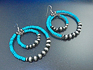 Navajo Kingman Turquoise Sterling Silver Beads Post Ear