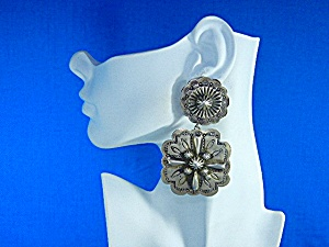 Native American Sterling Silver Clip Earrings Gary G