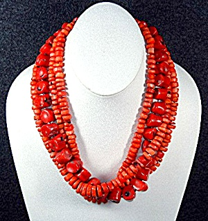 Coral 4 Strand Necklace Silver Clasp 19 Inches