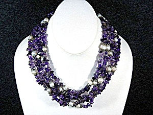 Freshwater Pearls Amethyst Silver Clasp Necklace