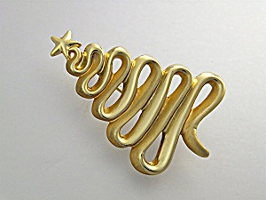 Brooch Pin Christmas Tree Gold Tone Sign Cage USA (Image1)