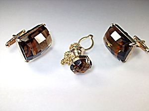 Cuff Links Tie Tack Silver Gold Vermeil Smoky Quartz