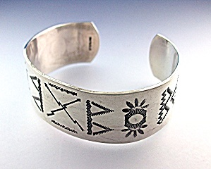 Bracelet Sterling Silver Cuff American Indian (Image1)