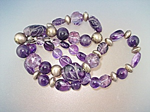 Necklace Carved Amethyst Sterling Silver Beads