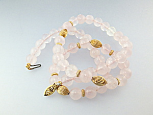 Necklace Rose Quartz and Gold Beads USA (Image1)