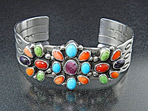 Native American Sterling Silver Coral Lapis Turquoise C (Image1)