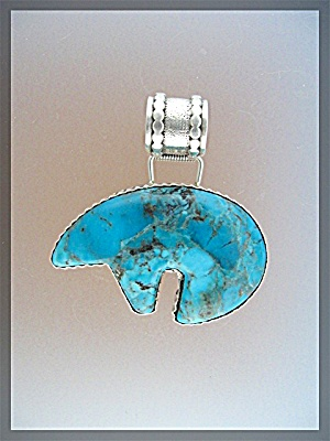 Sterling Silver Turquoise Bear Pendant Signed Rb