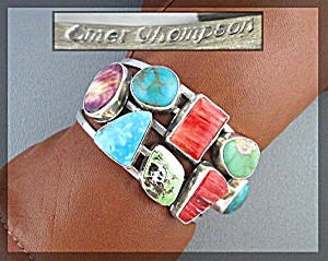 Native American Emer Thompson Sterling Silver Cuff  (Image1)