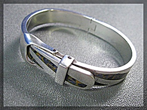 Sterling Silver Lapis Tigereye Buckle Bracelet Mexico (Image1)