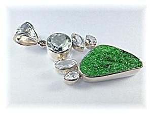 Pendant White Topaz Green Amethyst Moldavite Sterling (Image1)