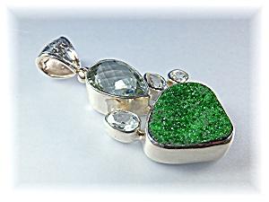 Pendant Green Amethyst White Topaz Moldavite Sterling S (Image1)