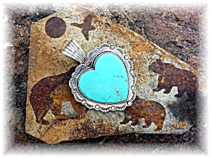 Pendant Sterling Silver Turquoise Heart DAN DODSON (Image1)