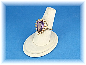 Ring 14K Gold Diamond and  Pear Shape  Amethyst  (Image1)