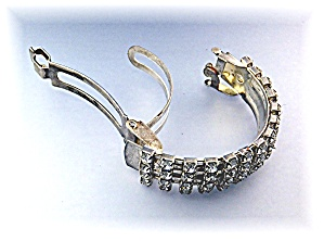 Hair Pony Tail Holder Rhinestone Silvertone Vintage (Image1)