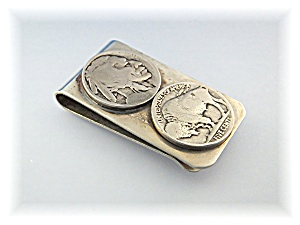 Money Clip 5c Indian Head And Buffalo Nickle Silver