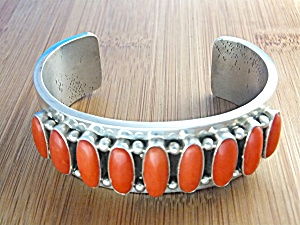 Native American Coral Sterling Silver Patrick Yazzie (Image1)