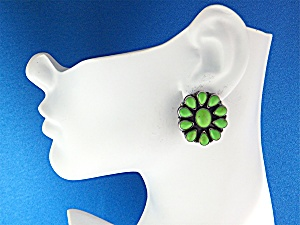 Earrings Sterling Silver Gaspeite ROCKI GORMAN Clips US (Image1)