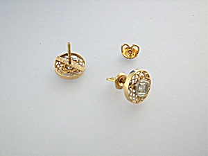 Earrings 14K Gold and Diamond Pierced USA (Image1)