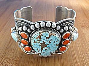 Navajo Sterling Silver Turquoise Coral D. CADMAN Cuff (Image1)