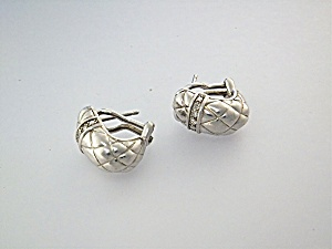 Earrings Sterling Silver CZ Pierced French Clip GAIA (Image1)
