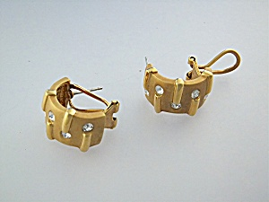 Earrings Gold Tone Rhinestone French Back Clips