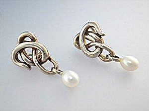 Earrings Sterling Silver Freshwater Pearl A.C Studio (Image1)
