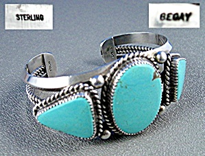 Native American Begay Turquoise Sterling Silver Cuff