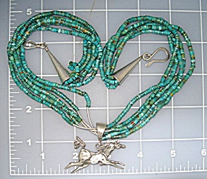 Turquoise Beads Sterling Silver Artist Made Horse Penda