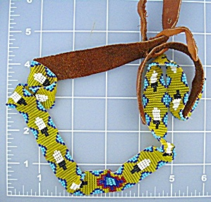 Native American Beaded Leather Hat Band Hand Made (Image1)