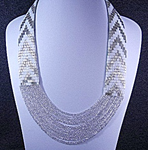 Silver And White Beaded Necklace Usa