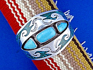 Navajo Sterling Silver Turquoise Inlay Cuff S. Dixon