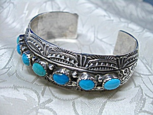 Native American Bryant Waatsa Sterling Silver Turquoise
