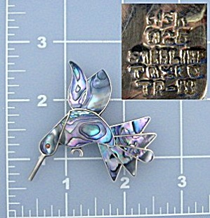 Taxco Mexico TR-18 and A5R Abalone Sterling Silver Pin (Image1)