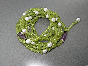 Freshwater Pearls Peridot Charite Lariat Necklace