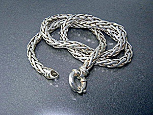 Italian Sterling Silver Wheat Necklace Italy