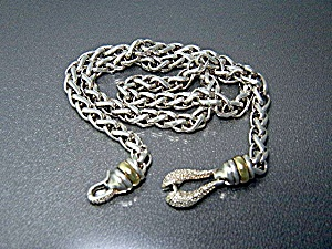 14K Gold Diamond Sterling Silver Wheat Chain (Image1)