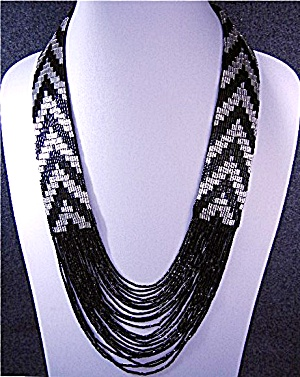 Beaded Black And Silver Necklace Usa