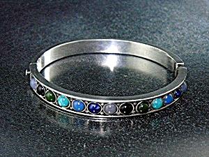 Silver Chalcedony Onyx Turquoise Glass Bracelet (Image1)