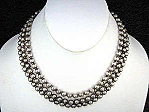 Sterling Silver 3 Strand Beads Necklace 50s