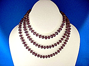 Amethyst Faceted Glass Hand Knotted Beads Necklace KH (Image1)