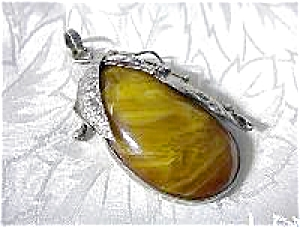 Pendant Sterling Silver Butterscotch Amber Large