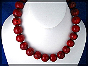 Coral Bead Necklace Red 15 1/2 Inch