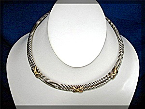 Necklace 14K Sterling Silver David Yurman Look Collar (Image1)