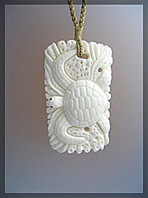 Ivory Bone Sea Turtle Necklace Cord Hawaii (Image1)