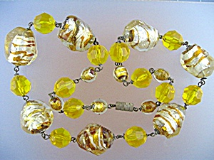 Gold Art Glass  Antique Bead Necklace (Image1)