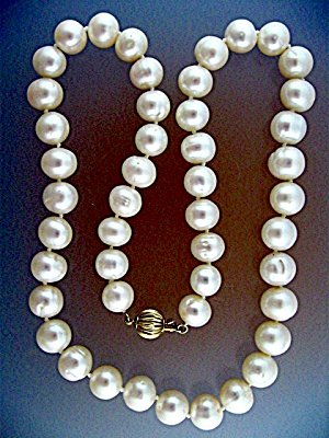 14 K Gold Clasp Cultured Pearls 11mm White (Image1)
