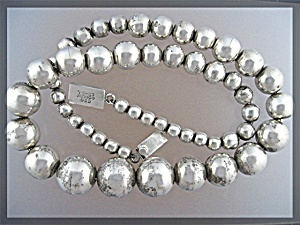 Sterling Silver Bead Necklace Taxco Mexico